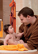 babies bathe dad bathing girl daughter stock image