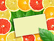 Stock Photo : Cross Eyed Stock Photo: Abstract Background Of Citrus Slices With Message Card. Close-up. Studio Photography