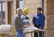 Agent or Builder with Clients stock photography