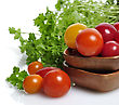 Stock Photo : Herb Stock Image: Assortment Of Fresh Small Tomatoes And Herbs