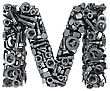 Big Letter M Made From Metal Fasteners