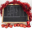 Party Blackboard With 2013 New Year Number And Red Decoration stock image