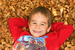 Stock Photo : Children Pictures: Boy in Leaves