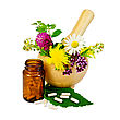 Capsules On Green Leaf Of Sage, Brown Jar, Wooden Mortar With A Sprig Of Mint, Flowers Of Chamomile, Clover, Oregano, Mignonette, Elecampane