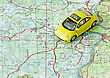 Car Travel Choose Route On The Map stock photo