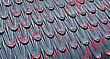Cast Iron Roof With Old Flaking Red Paint Background stock photo
