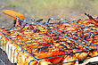 Stock Photo : Grill Stock Image: Chicken Tasty Wings Are Fried On Barbecue Grills On A Fire.