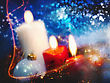 Party Christmas Backgrounds With Candles And Garland For Your Design stock photo