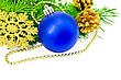 Tradition Christmas Tree Blue Ball, Golden Cones, Snowflakes And Beads, Green Fir Branches - stock image