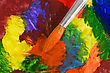 Stock Photo : Paper Stock Photography: Close Up Of Paintbrush On Colorful Painted Paper