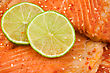 Stock Photo : Prepared Food Pictures: Close Up Of Salmon With Green Lemon.