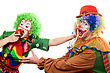 Humor Clowns Are Fighting For An Apple. stock photo