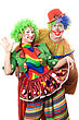 Humor Couple Of Playful Clowns. stock photo