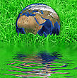 Sphere Earth At The Succulent Green Grass Background - stock photo