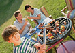 Day Family Backyard Barbeque stock photography
