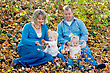 Family in the Fall Leaves stock photography