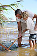 Outing Father And Son Fishing Together stock photography
