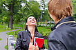 Stock Photo : Friends Stock Image: Female Student Chatting With Friend Outdoors