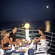 People Eating  Friends Dining in Moonlight stock photography