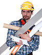 Job Handyman Struggling To Carry His Equipment stock photography