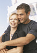 Poses Happy Couple on Honeymoon stock photography