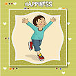 Exercise Happy Little Boy Who Runs, Vector Illustration - stock vector