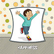 Exercise Happy Little Boy Who Runs, Vector Illustration - stock illustration