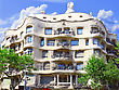House Casa Mila (La Pedrera)in Barcelona Building By The Great Spain Architect Antonio Gaudi stock photo