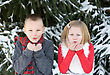 Children Kids Blowing Snow stock image