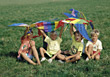 Stock Photo : Kid Stock Image: Kids Holding Up A Big Kite