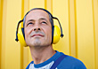 Stock Photo : Mature Stock Image: Man Wearing Hearing Protection