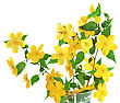 Easter Marsh Marigold Yellow Wildflowers In Vase - stock image