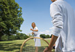 Stock Photo : Children Stock Photo: Mother and Child Playing Tennis