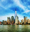 Downtown New York City Cityscape Panorama On A Sunny Day stock image