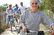 Stock Photo : Friends Stock Photo: Older Woman And Friends On A Bike Ride