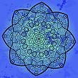 Yoga Oriental Blue Mandala Motif Round Lase Pattern On The Black Background, Like Snowflake Or Mehndi Paint In Blue Color stock illustration