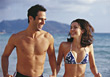 Smiling walking topless male happiness bikini adult stock photo