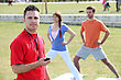 Stock Photo : Trainer Stock Photography: Personal Trainer With His Clients