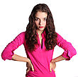 One Portrait Of Nice Young Woman In Pink Blouse Isolated On White stock photography