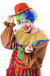 Portrait Of A Playful Clown. stock photo