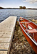 Male Potawatomi State Park Boat Rental Canoe Dock Wisconsin Sturgeon Bay - stock photo