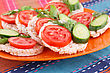 Puffed Rice Crackers Sandwiches With Vegetables On Plate stock image