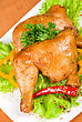 Stock Photo : Green Stock Photography: Roasted Chicken Ham Garnished With Fresh Green Salad, Pepper And Greens