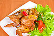 Stock Photo : Green Pictures: Roasted Chicken Wings Garnished With Fresh Green Salad, Pepper And Greens