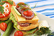 Sandwiches With Salami, Cheese, Cherry Tomato And Herbs On Plate stock photography