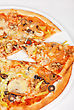 Stock Photo : Italy Stock Image: Seafood Pizza Closeup With Salmon Shrimps Tomato Pepper Olive And Mozzarella Cheese