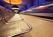 Hall Shiny Chrome Subway Benches stock image