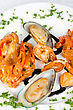 Stock Photo : Menu Stock Photo: Shrimps Mussels And Squid Tasty Seafood Dish