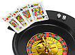Playful Spin Casino Roulette, Dice And Playing Cards. Isolated Over White stock photo