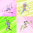 Exercise Sport Sketches In Watercolor - stock illustration